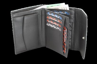 Černá dámská kožená peněženka s klopnou