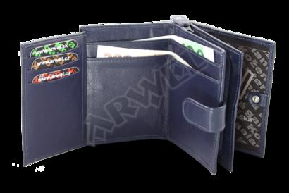 Tmavě modrá dámská kožená peněženka se zápinkou