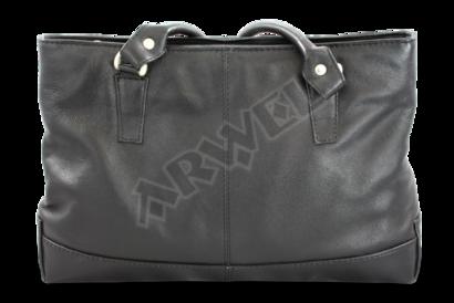 Černá kožená zipová kabelka se dvěma popruhy