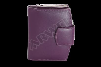 Fialová dámská kožená rámová peněženka se zápinkou