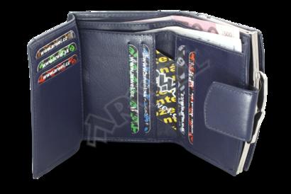Modrá dámská kožená rámová peněženka se zápinkou