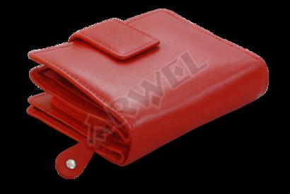 Červená dámská kožená peněženka se zápinkou
