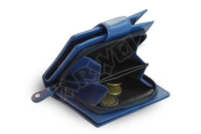 Modrá dámská kožená peněženka se zápinkou
