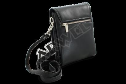 Malý černý kožený pánský crossbag