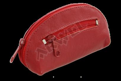 Červená kožená dvouzipová klíčenka
