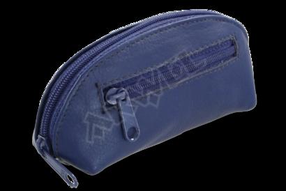 Modrá kožená dvouzipová klíčenka
