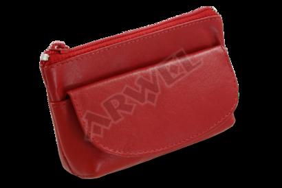 Červená kožená klíčenka se zipovou a klopnovou kapsičkou