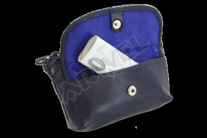 Modrá kožená klíčenka se zipovou a klopnovou kapsičkou