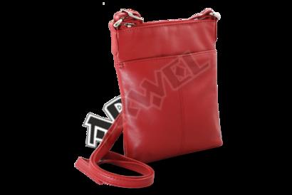 Červená kožená zipová minikabelka