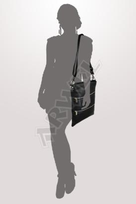 Černá kožená zipová kabelka s popruhem