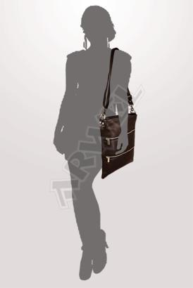Tmavě hnědá kožená zipová kabelka s popruhem