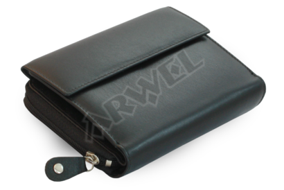 Černá dámská kožená peněženka s malou klopnou