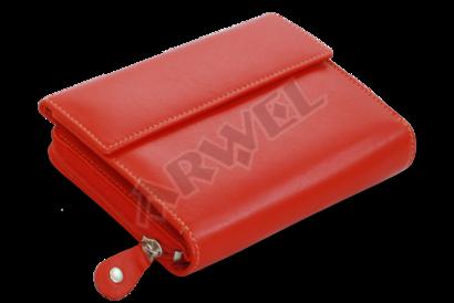 Multičervená dámská kožená peněženka s malou klopnou