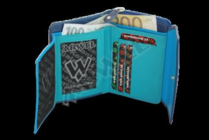Multimodrá dámská kožená peněženka s malou klopnou