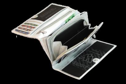 Stříbrná dámská psaníčková kožená peněženka s klopnou