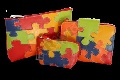 Puzzle kožená zipová klíčenka