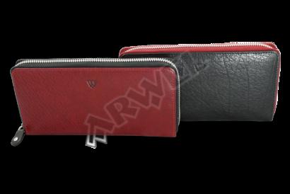 Černo-červená dámská kožená zipová peněženka