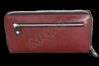 Červeno-černá dámská kožená zipová peněženka