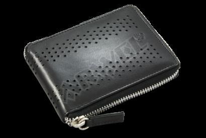 Černá kožená zipová peněženka