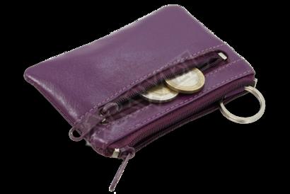 Fialová kožená dvouzipová klíčenka