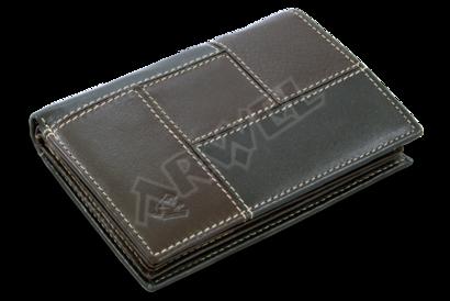 Pánská kožená dokladovka v kombinaci černé a hnědé barvy