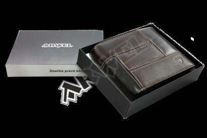 Pánská kožená peněženka v kombinaci černé a hnědé barvy