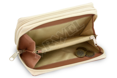 Béžovo hnědá dámská kožená dvouzipová peněženka