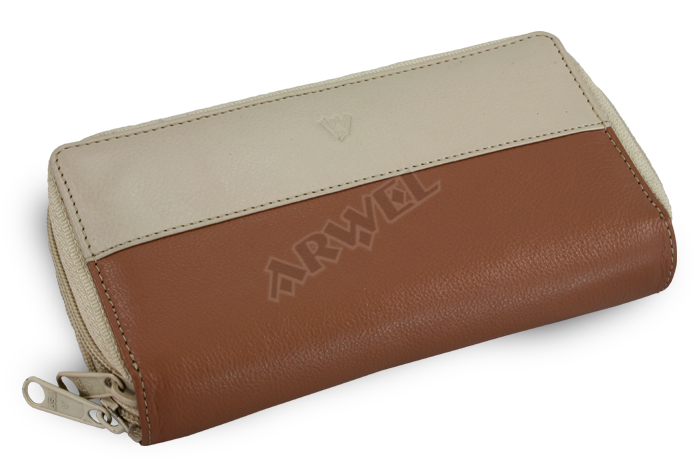 4013074fd Dámská kožená dvouzipová peněženka Arwel 511-6153 v kombinaci béžové ...