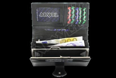 Černá dámská kožená rámová peněženka s ozdobnou klopnou
