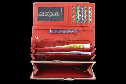 Červená dámská kožená rámová peněženka s ozdobnou klopnou