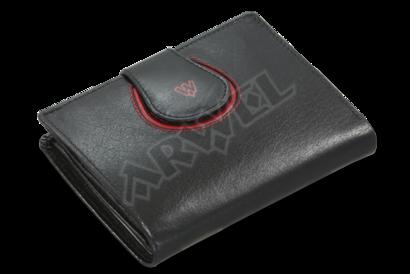 Černá dámská kožená peněženka s ozdobnou klopnou