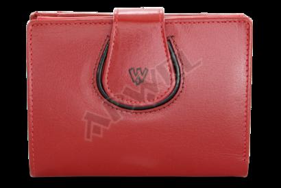 Červená dámská kožená peněženka s ozdobnou klopnou