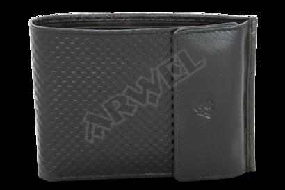 Černá kožená pánská peněženka s klopnou
