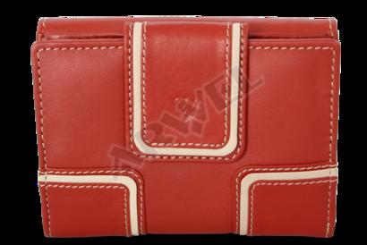Červená dámská kožená peněženka se dvěma klopnami