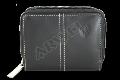 Černý kožený zásobník na kreditní karty a vizitky