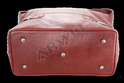 Červená dámská kožená kabelka