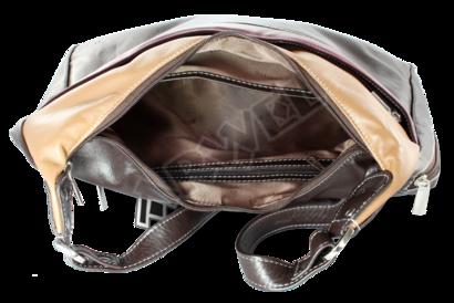 Hnědá dámská kožená kabelka ve tvaru gondoly