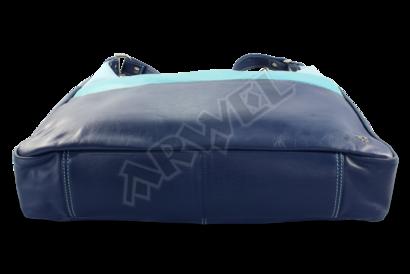 Modrá dámská kožená kabelka ve tvaru gondoly