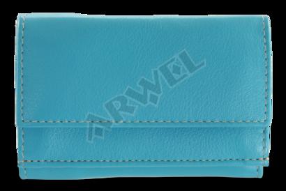 Tyrkysová dámská kožená mini peněženka