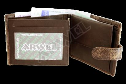 Hnědá pánská kožená peněženka se zápinkou
