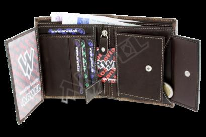 Hnědá pánská kožená peněženka