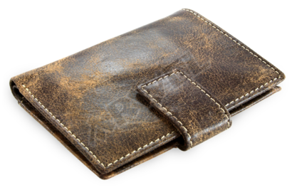Hnědý kožený zásobník na kreditní karty a vizitky