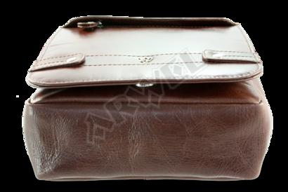 Malý hnědý pánský kožený crossbag s klopnou