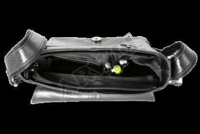 Malý černý pánský kožený crossbag s klopnou