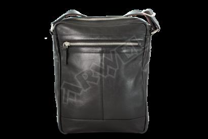Černý pánský kožený zipový crossbag