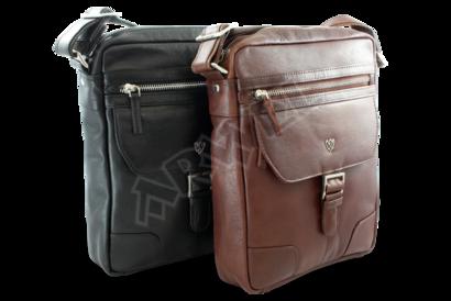 Hnědý pánský kožený zipový crossbag