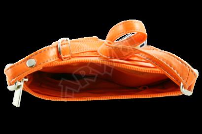 Oranžová kožená zipová minikabelka