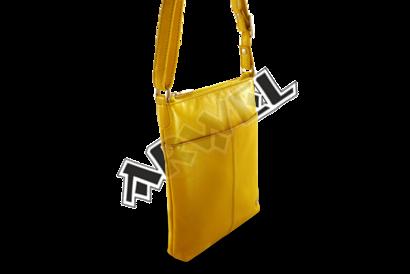 Žlutá kožená zipová minikabelka