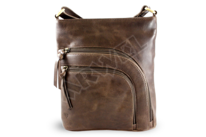 Hnědá kožená zipová kabelka