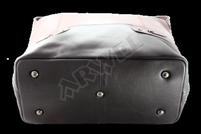 Červeno-černá dámská kožená kabelka